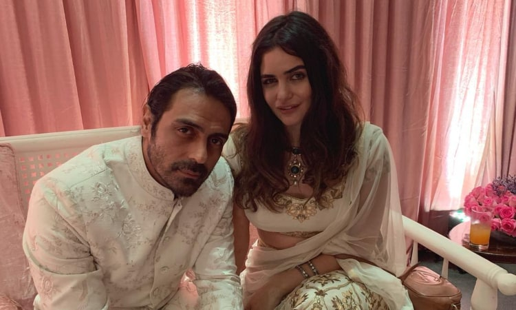 arjun rampal attends wedding with girlfriend gabriella demetriades