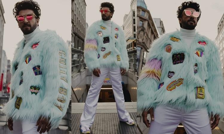 ranveer singh at berlin feather jacket