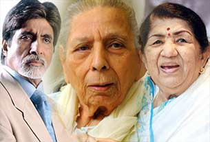 amitabh bachchan and lata mangeskar with singer Shamshad Begum