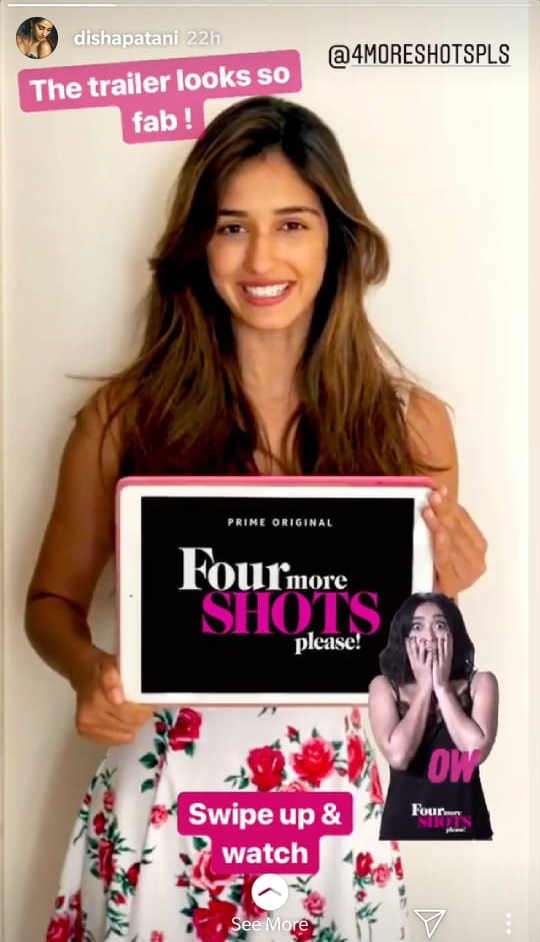 disha gives a shout out to four more shots please on her instagram