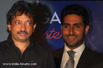 Filmmaker ram gopal varma and actor abhishek bachchan