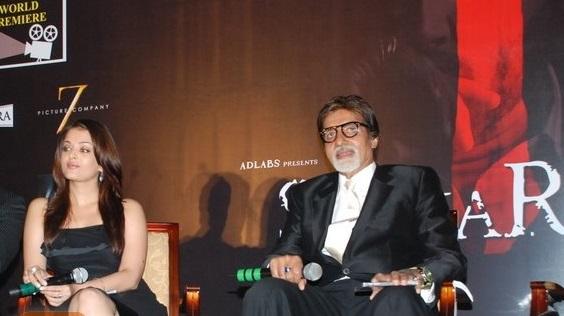 amitabh bachchan and aishwarya rai at a press conference