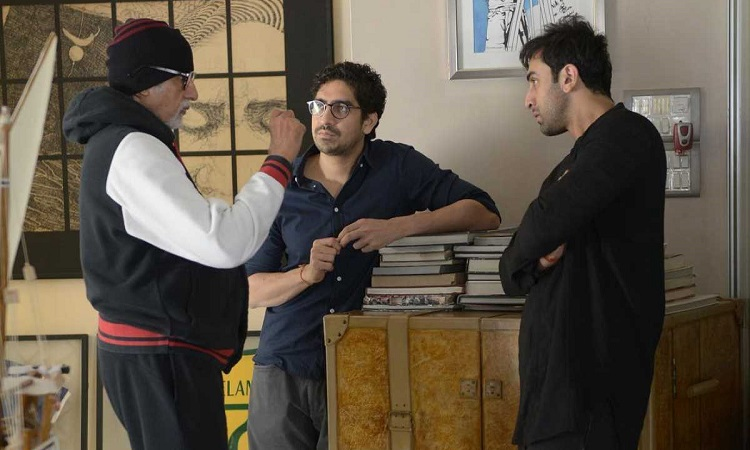 big b having a discussion with ayan and ranbir