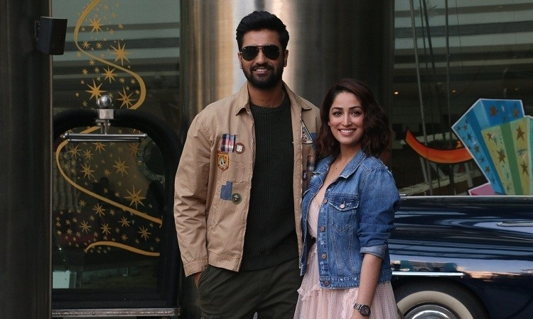 yami gautam and vicky kaushal at promotions of uri