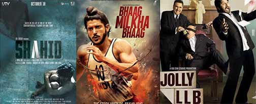 movie of shahid, bhaag milkha bhaag and jolly llb