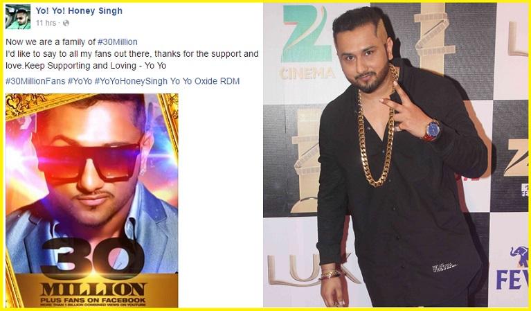 Yo Yo Honey Singh crosses 30M+ follower on Facebook! | 65928