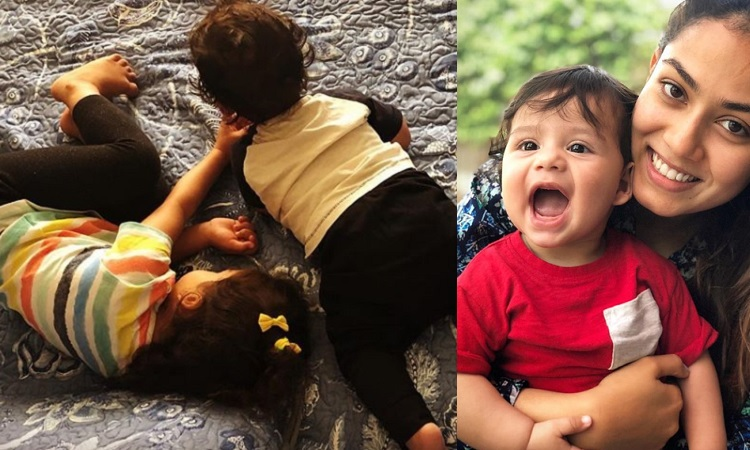 zain kapoor gives a bright smile wrapped in mom mira's arm