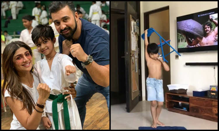 shilpa shetty son mimics prahas from baahubali