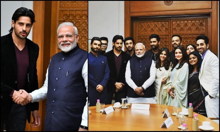 sidharth malhotra and others at the delhi meet with pm modi