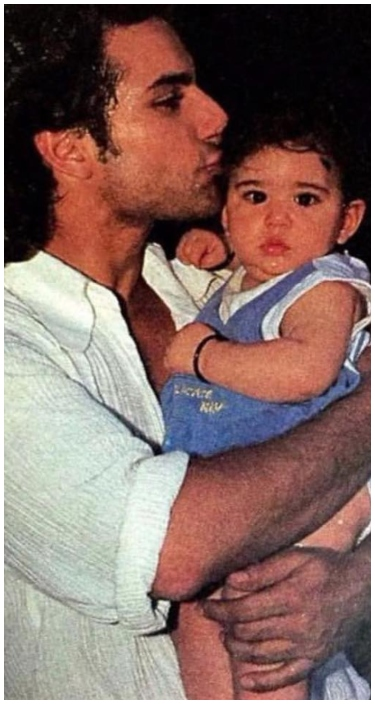 saif ali khan kissing baby sara ali khan