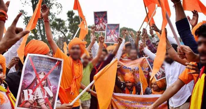 Karni Sena protests outside CBFC office in Mumbai