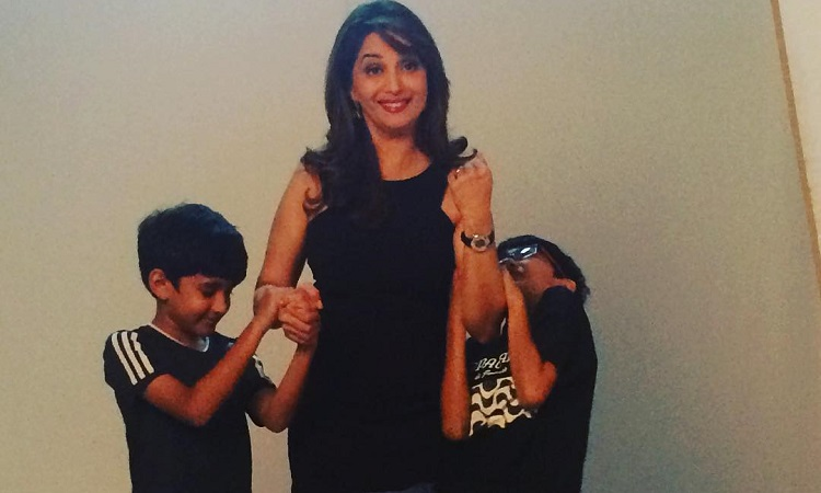 madhuri dixit with her sons