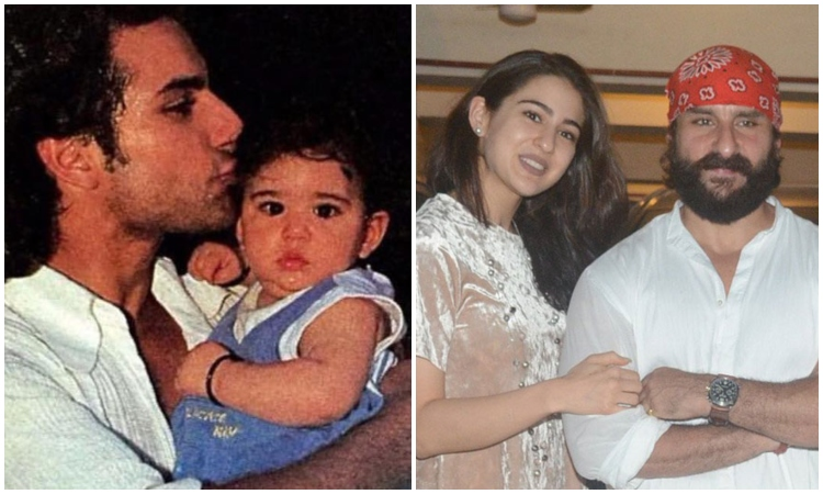 sara ali khan with daddy saif ali khan then and now!