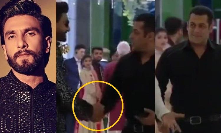 ranveer singh greets salman khan at akash ambani - shloka mehta's wedding