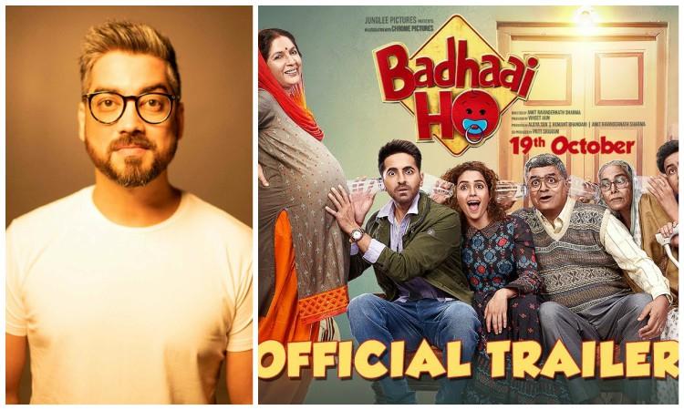 collage of director amit sharma and badhaai ho poster