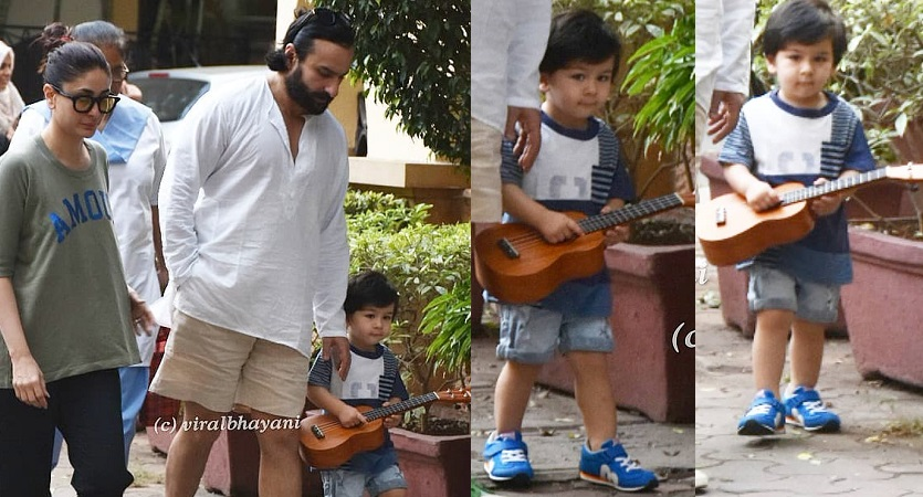 taimur spotted with saif kareena and his guitar pics